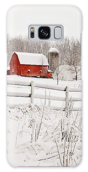 Red Barn In Winter Galaxy Case