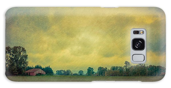 Red Barn Under Stormy Skies Galaxy Case