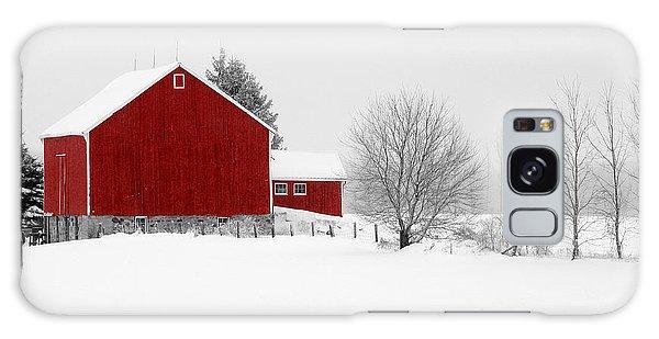 Red Barn Winter Landscape Galaxy Case
