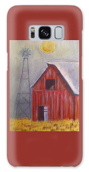 Red Barn With Windmill Galaxy Case by Belinda Lawson