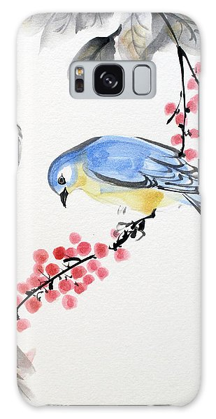 Red Berries Blue Bird Galaxy Case