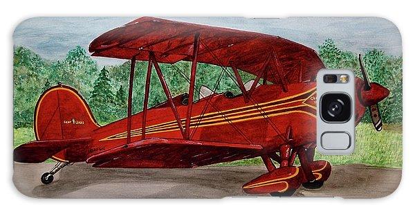 Red Biplane Galaxy Case by Megan Cohen
