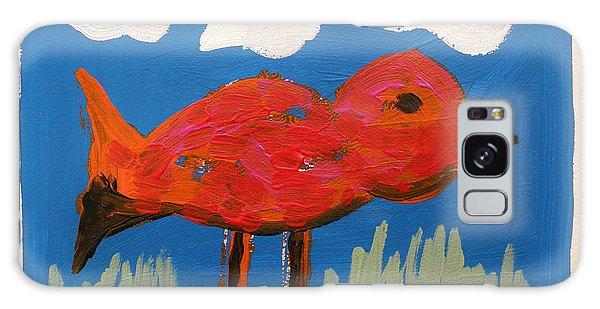 Red Bird In Grass Galaxy Case