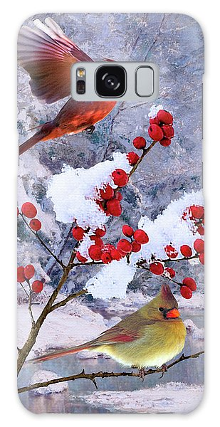 Red Birds Of Christmas Galaxy Case