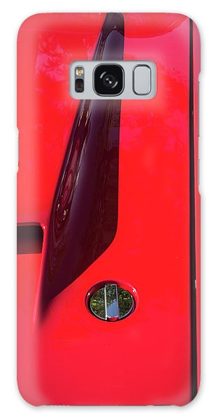 Galaxy Case featuring the photograph Red Black And Shapes On Hot Rod Hood by Gary Slawsky