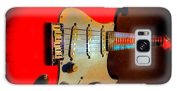 Galaxy Case featuring the digital art Red Burst Stratocaster Glow Neck Series by Guitar Wacky