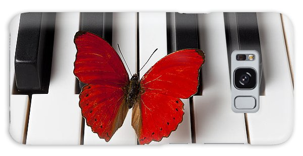 Insect Galaxy Case - Red Butterfly On Piano Keys by Garry Gay