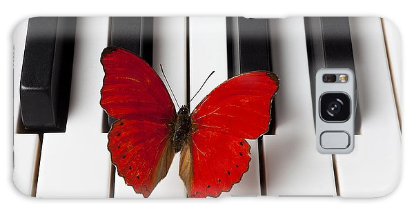 Red Butterfly On Piano Keys Galaxy Case