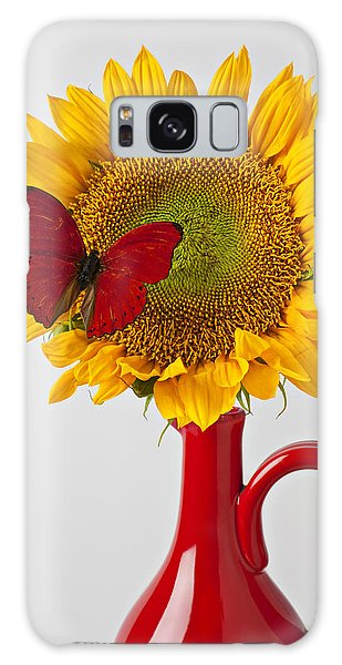 Red Butterfly On Sunflower On Red Pitcher Galaxy Case