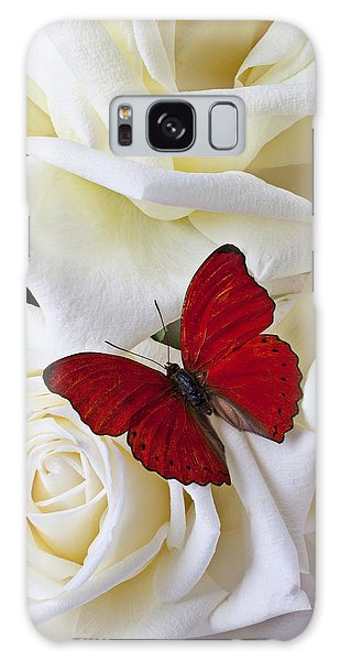 Floral Galaxy Case - Red Butterfly On White Roses by Garry Gay