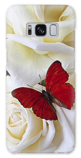 Blossoms Galaxy Case - Red Butterfly On White Roses by Garry Gay