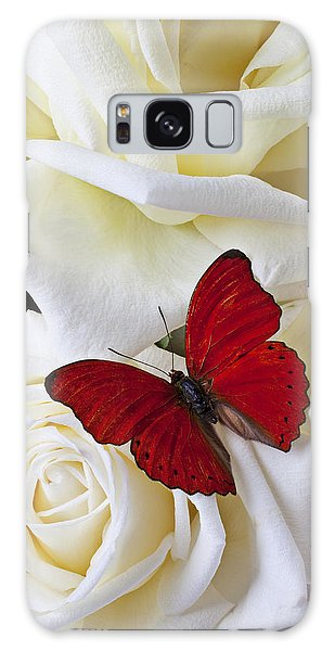 Flora Galaxy Case - Red Butterfly On White Roses by Garry Gay