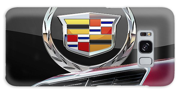 Automotive Galaxy Case - Red Cadillac C T S - Front Grill Ornament And 3d Badge On Black by Serge Averbukh