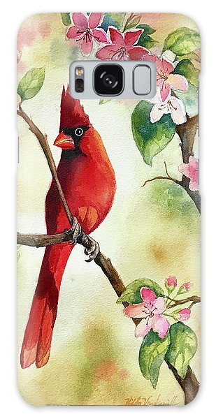 Red Cardinal And Blossoms Galaxy Case