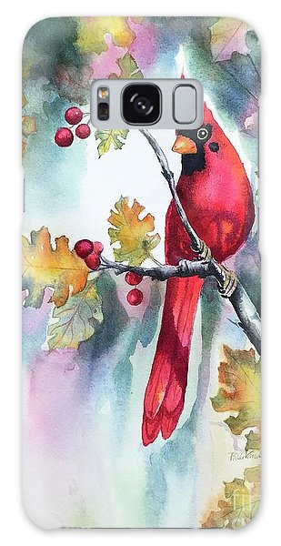 Red Cardinal With Berries Galaxy Case