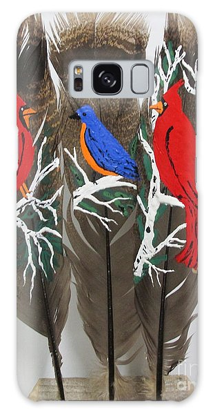 Red Cardinals On Turkey Feathers Galaxy Case