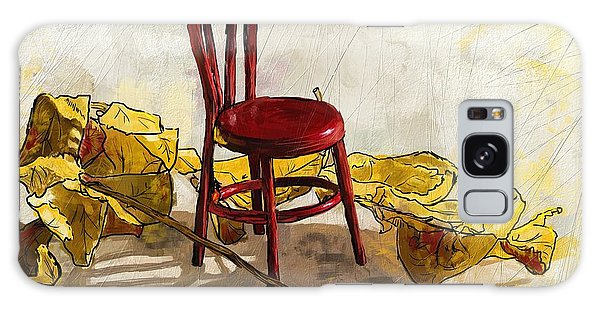 Red Chair And Yellow Leaves Galaxy Case by Debra Baldwin