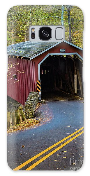 Red Covered Bridge In Lancaster County Park Galaxy Case