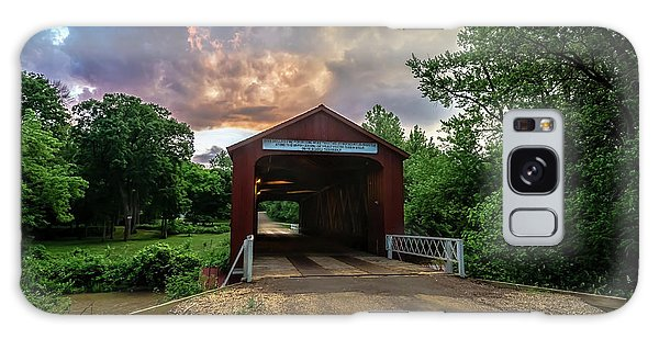 Red Covers Bridge With Pretty Sky  Galaxy Case