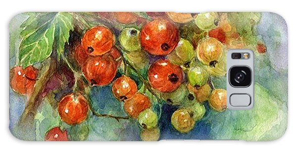 Galaxy Case - Red Currants Berries Watercolor by Svetlana Novikova