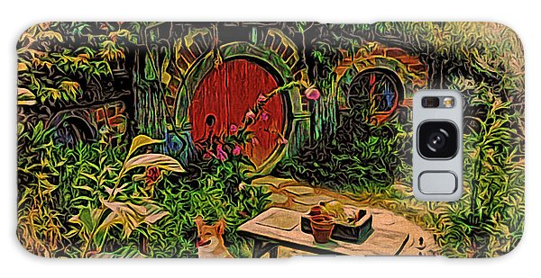 Red Door Hobbit House With Corgi Galaxy Case