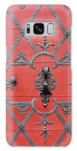 Red Door In Prague - Czech Republic Galaxy Case by Melanie Alexandra Price