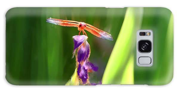 Red Dragonfly On Purple Flower Galaxy Case