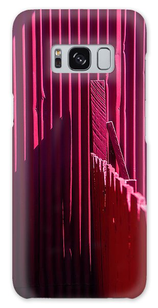 Fence Post Galaxy Case - Red Fence And Wall by Garry Gay