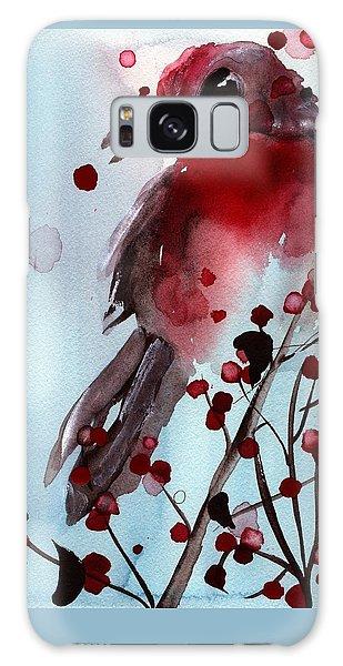 Red Finch In The Winterberry Galaxy Case by Dawn Derman