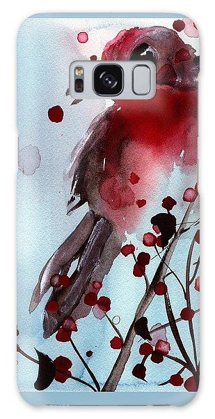 Red Finch In The Winterberry Galaxy Case