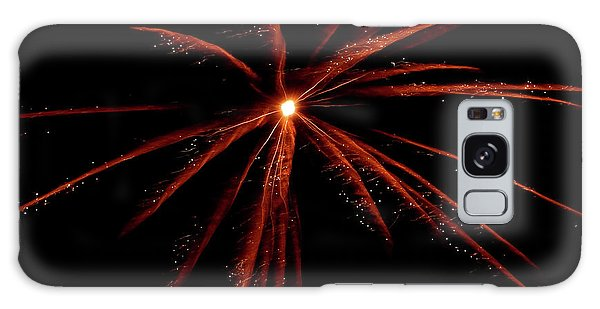 Galaxy Case featuring the photograph Red Fireworks #0699 by Barbara Tristan
