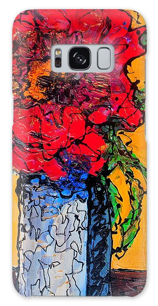 Red Flower Square Vase Galaxy Case
