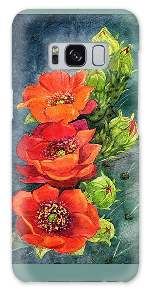 Red Flowering Prickly Pear Cactus Galaxy Case