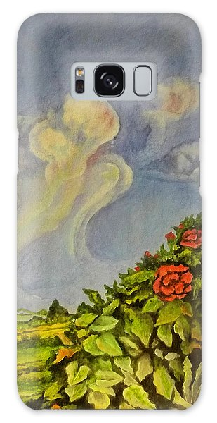 Strange Clouds Galaxy Case - Red Flowers by Alexander Dudchin