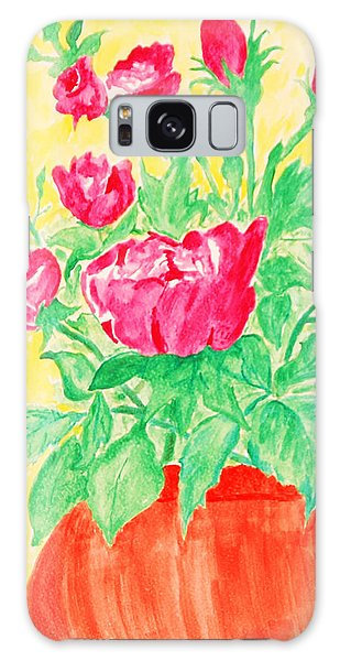 Red Flowers In A Brown Vase Galaxy Case