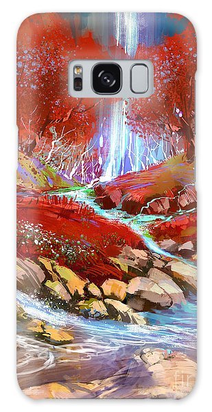 Galaxy Case featuring the painting Red Forest by Tithi Luadthong