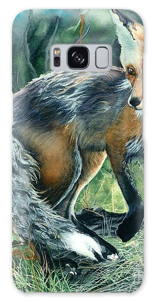 Red Fox- Caught In The Moment Galaxy Case by Barbara Jewell