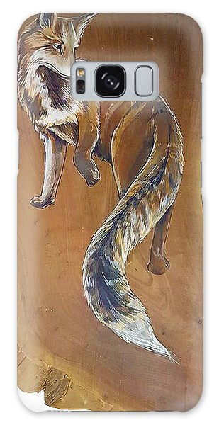 Red Fox On Cherry Slab Galaxy Case by Jacque Hudson