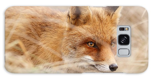 Red Fox On The Hunt Galaxy Case by Roeselien Raimond
