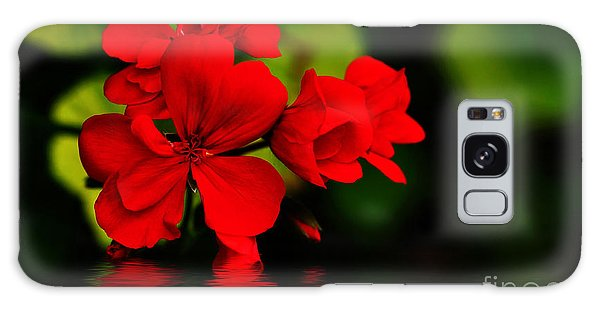 Red Geranium On Water Galaxy Case by Kaye Menner