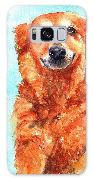 Watercolor Pet Portraits Galaxy Case - Red Golden Retriever Smile by Carlin Blahnik CarlinArtWatercolor
