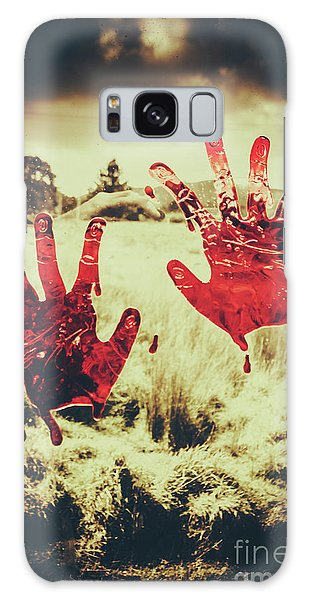 Zombies Galaxy Case - Red Handprints On Glass Of Windows by Jorgo Photography - Wall Art Gallery