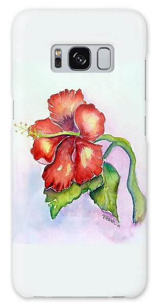 Red Hibiscus Galaxy Case by Patricia Piffath
