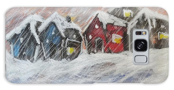 Red House In The Snow Galaxy Case