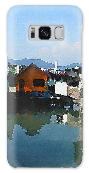 Red House On The Water Galaxy Case