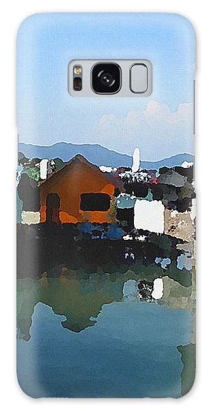 Galaxy Case featuring the digital art Red House On The Water by Shelli Fitzpatrick