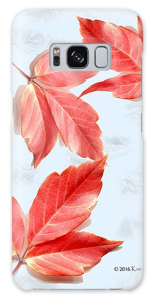 Red Leaves On Blue Texture Galaxy Case by Kae Cheatham
