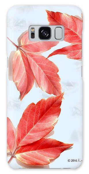 Red Leaves On Blue Texture Galaxy Case