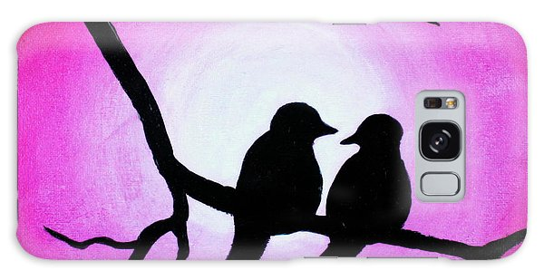 Galaxy Case featuring the painting Red Love Birds Silhouette by Bob Baker