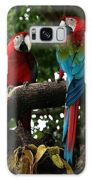 Red Macaws Galaxy Case